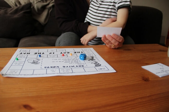printable rhyming board game